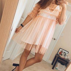 Sheer Pink Babydoll Dress - Glamorous - Size M
